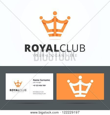 Royal club logo and business card template. Vip club sign. Crown sign origami style with overlapping effect. Vector illustration for print or web.