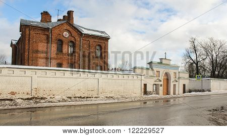 Staraya Ladoga, Russia - 23 February, Staroladozhsky Holy Assumption nunnery, 23 February 2016.