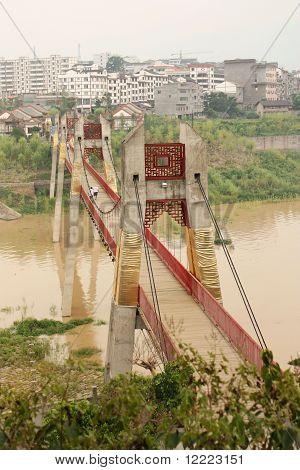 Rural landscape with a bridge across Yangtze river