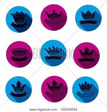 Colorful Luxury Crowns Collection Isolated. 3D Imperial Accessories Can Be Used In Web And Graphic D
