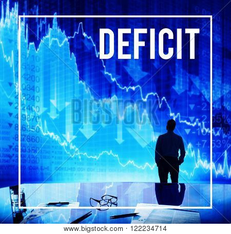 Deficit Financial Loss Debt Crisis Money Concept
