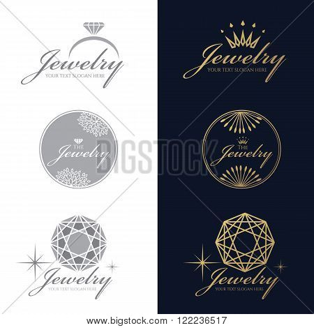 Jewelry ring logo. Jewelry crown logo. Jewelry flower and circle logo. Diamond Octagon logo. vector set and isolate on white and
