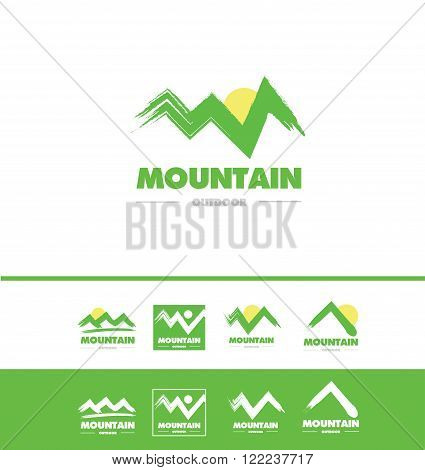 Vector company logo icon element template grunge mountain drawing peak tourism