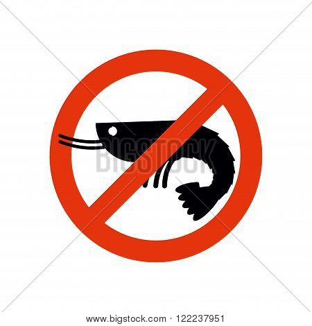 Stop Shrimp. Banned Deep-water Plankton. Frozen Shrimp Silhouette. Emblem Against A Marine Animal. R