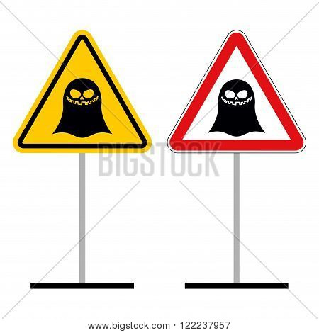 Warning Sign Attention Ghost. Hazard Yellow Sign Supernatural Creature. Ghost On Red Triangle. Set O