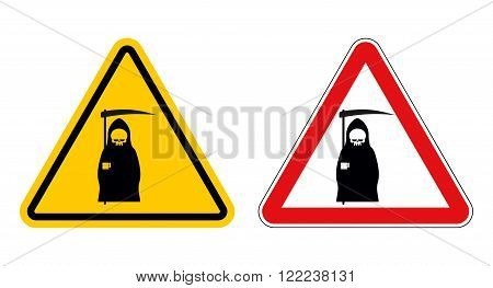 grim reaper warning sign of attention. Death Danger Yellow sign. Death on red triangle. Set of Road signs of grim reaper on white background poster