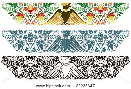 Traditional central European decoration, eagle and florid ornaments