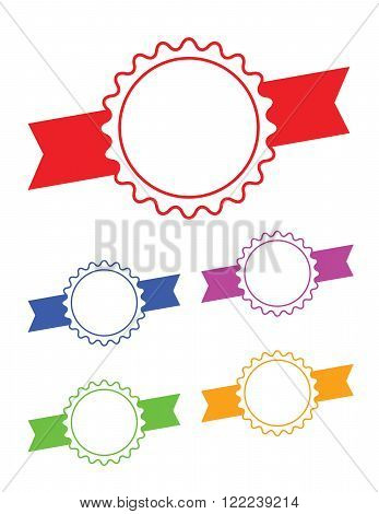 Vector ribbon badge set in various colours