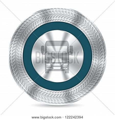 Cool metallic truck badge design with debossed tire tracks