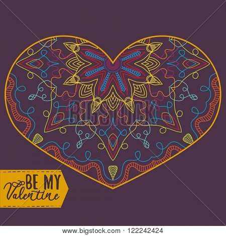 Ornamental Heart. Vintage ornate design element for Valentine's Day or Wedding. Stock Vector
