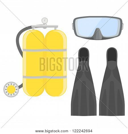 Aqualung. Diving set. Dive Mask and tube for diving. Vector illustration isolated on white background