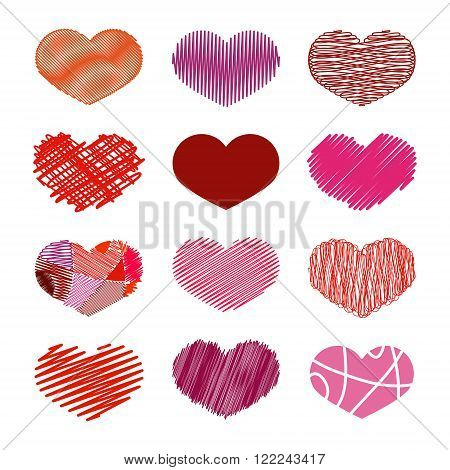 Set of Stylized hand-drawn Scribble Hearts Icons in different shades of red. Childlike Dense Sketch Snare Swash Tight Zigzag Scrappy Doodle Cartoon Comics. Perfect Design Element for Valentine's Day or Wedding. Vector Stock.