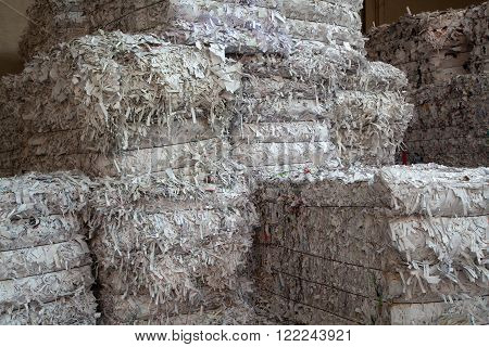 White paper packed in bales for recycling