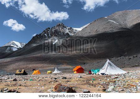 First camp on the way up to Stok Kangri, 6000+ meters high peak in Himalayas near Leh, Ladakh.