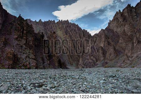 Stone gorge near base camp on the way up to Stok Kangri, 6000+ meters high peak in Himalayas near Leh, Ladakh.