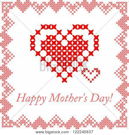 Greeting card for mom. Happy Mother's Day. Frame with pink hearts. Embroidery.