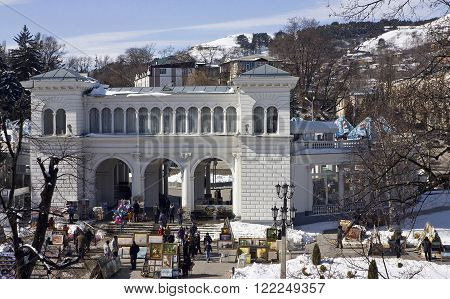 KISLOVODSK,RUSSIA - MARCH 18,2012:Colonnade,the historic monument,landmark,1912 year.People in front of Colonnade in Kislovodsk,Caucasus,Russia on March 18,2012.