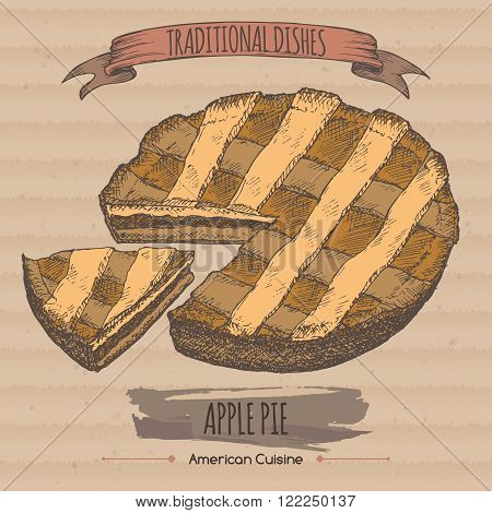 Color apple pie sketch placed on cardboard background. American cuisine. Traditional dishes series. Great for market, restaurant, cafe, food label design.