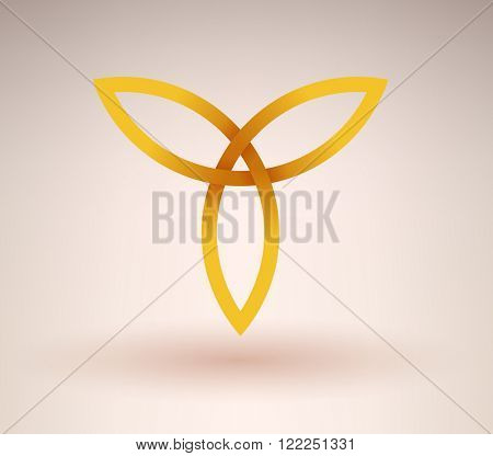 Abstract golden occult symbol with three directions