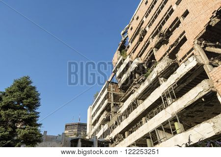 BELGRADE, SERBIA, JULY 3,2014: Remains of the Yugoslav Ministry of Defence, which was considered to be a masterpiece of post-war architecture, was bombed on 7th May 1999 during Operation Allied Force.