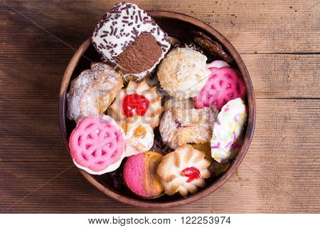 Bowl Of Colorful Delicious Assorted Cookies