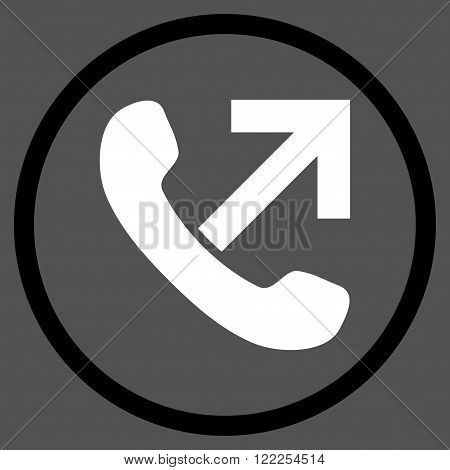 Outgoing Call vector bicolor icon. Picture style is flat outgoing call rounded icon drawn with black and white colors on a gray background.