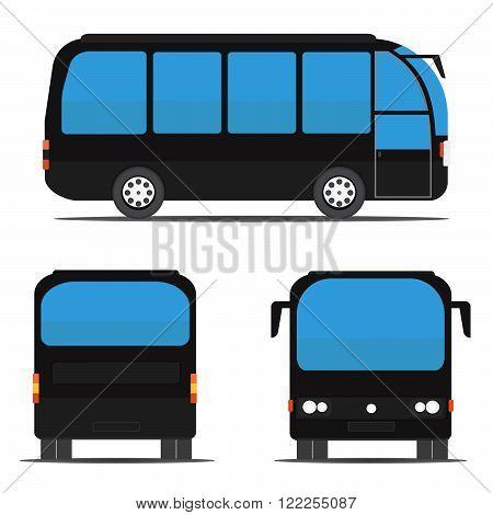 Black bus rear side front?Stock vector. Vector illustration.