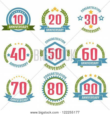 Anniversary banner, logo set. Stock vector. Vector illustration.