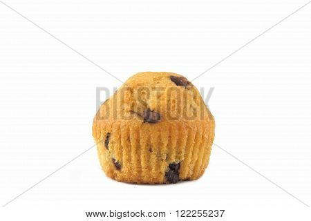 a muffin with chocolate on a white background