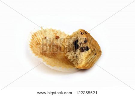 a muffin with schoko on white background