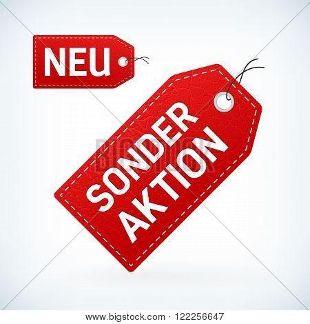 Red leather label neu and sonderaktion editable vector illustration