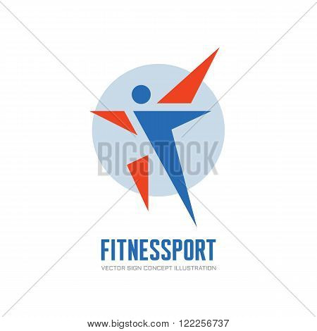 Fitness Sport - vector logo concept illustration. Human character vector logo. Abstract man figure logo. People logo. Human icon. People icon. Sport logo. Positive dance logo. Vector logo template.