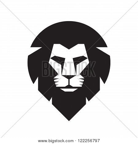Lion head - vector sign concept illustration. Lion head logo. Wild lion head graphic illustration. Wildecat logo sign. Pride of lion logo sign. Design element.
