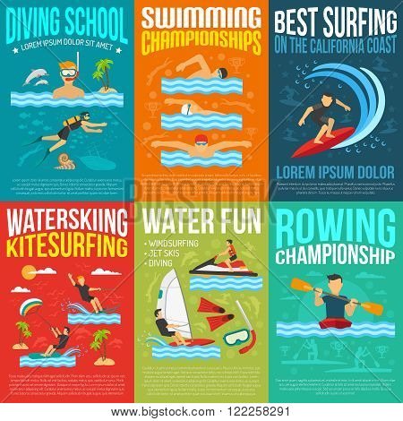 Water sport poster collection for rowing and swimming championships information best surfing water skiing and kite surfing advertising flat vector illustration