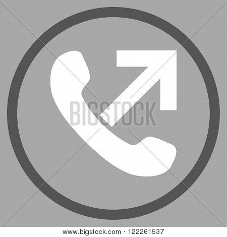 Outgoing Call vector bicolor icon. Picture style is flat outgoing call rounded icon drawn with dark gray and white colors on a silver background.