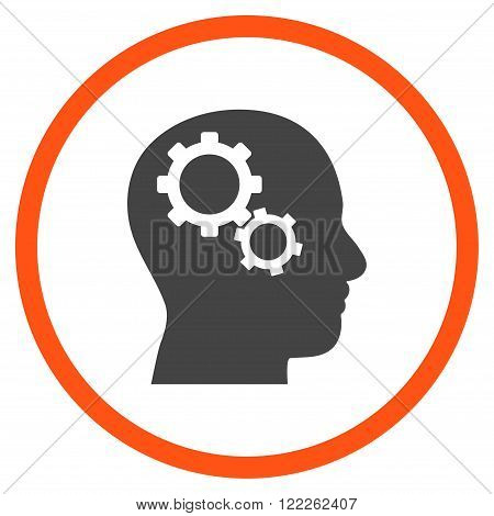 Brain Config vector bicolor icon. Picture style is flat brain gears rounded icon drawn with orange and gray colors on a white background.
