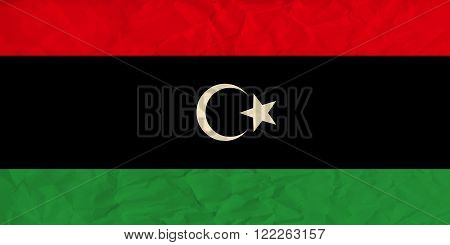 Vector image of the Libya  paper  flag