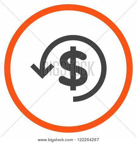 Rebate vector bicolor icon. Picture style is flat refund rounded icon drawn with orange and gray colors on a white background.