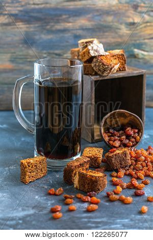 Kvass Is A Traditional Russian Drink In A Glass.