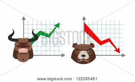 Bull business graph. Growing up green arrow. Bear business schedule. Drop quotes down red arrow. Players on the Exchange. Bulls and bears traders on stock exchange