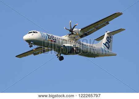 ST. PETERSBURG, RUSSIA - JULY 24, 2015: The aircraft ATR 72-500 (OH-ATN) company Flybe Nordic before landing at the airport Pulkovo