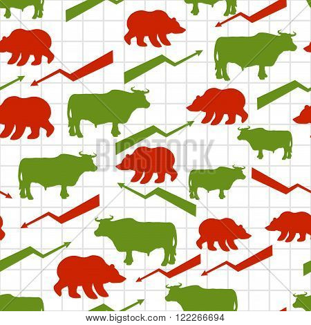 Bulls And Bears Seamless Pattern. Exchange Traders. Red Up Arrow. Green Down Arrow. Texture For Busi