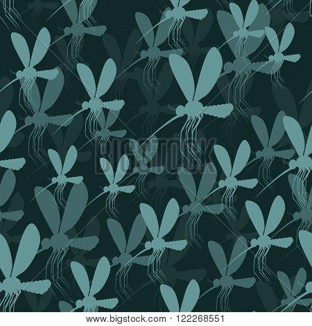 Mosquitoes Seamless Pattern. 3D Background Of Mosquitoes. Malaria Mosquito Tektsura. Zika Virus Many