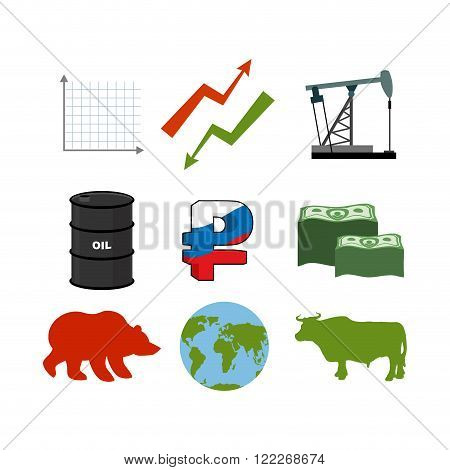 Set For Business Graphics. Set To Infographics. Icon Collection For Stock Traders. Green And Red Arr