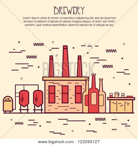 One page web design template, line art flat icons based on family brewery factory production, beer brewing process, traditional beer crafting. Hero image, website layout and website slider.