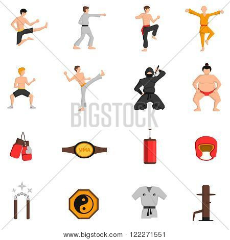 Martial arts icons set with boxing and judo symbols flat isolated vector illustration