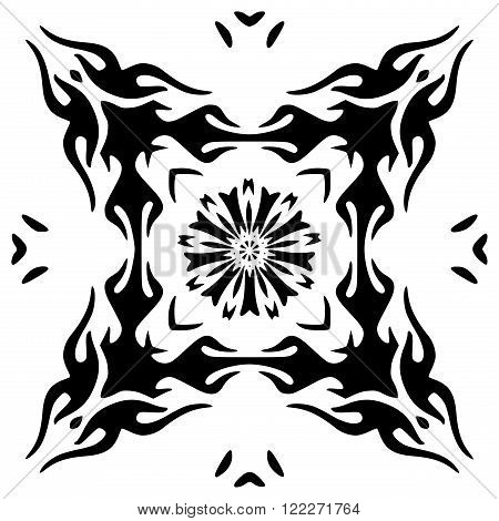 Hand drawn monochromatic floral ornament isolated on white background