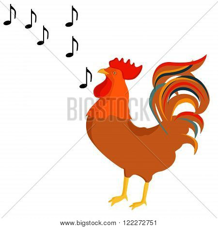 Vector illustration rooster crows singing song. Poultry farm animals