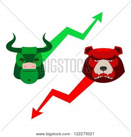Green Red Bull And Bear. Traders At Stock Exchange. Business Allegory. Fall And Rise Of Quotations.