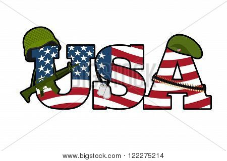 Us Army Symbol. Military Emblem Of America. American Flag. Military Rifle, Automatic. Green Beret An